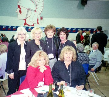 Rear - Marilyn H, Debra H, Candace G, Carlyle E Front - Nancy B, Lynn W / Menno Enns in background - Courtesy Debra Hyckie