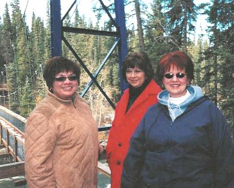 Lee-Ann and Judy Doucette with Terry Jones at Pisew Falls